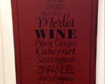 Shabby Wood Sign Wine Bottle Subway Style Made To Order