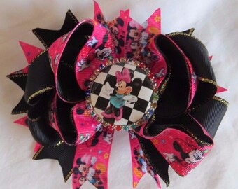 """Disney Minnie Mouse Layered Stacked Pink Black 5"""" Hair Bow Picture & Rhinestones"""