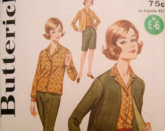 Vintage 1960s Mod Butterick 2424 Skirt, Jacket, Shirt, Pants Sewing Pattern, Bust 36