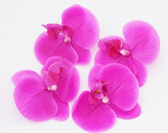 Rubber Hot Pink Orchid Flower Blossos | Hair Accessory | Millinery Flowers | Wedding Crown | Scrapbook Collage | The Blue Hutch ORF12