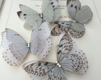 Beautiful Butterfly Hair Clips - Wedding Accessory - Handmade - Silk - Swarovski - Crystals. Box of 4.