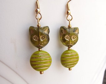 Olive Green Chartreuse Cat Charm Earrings