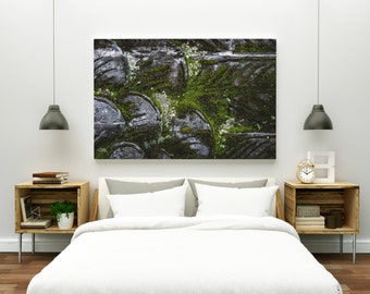 growth // abstract photography canvas print // large abstract wall art // abstract art print // moss stone architecture photography // bali