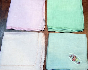 4 Pastel Vintage Handkerchiefs