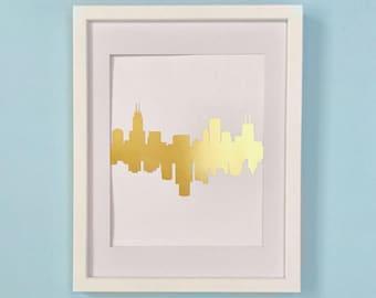 Going Away Gift Gold Foil 2 Cities Mirrored Skyline Print / Pick 2 Cities / City Skyline Art Best Friend Gift Gold Decor 8x10 Cute Print