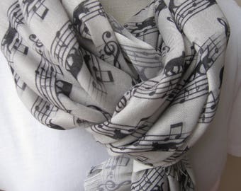 Animal scarves-Cat scarf pattern-animal linen infinity scarf/light gray black long scarf-music scarf-man fashion-mens scarves-womens scarves