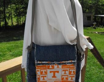 University of Tennessee Shoulder Bag, Rag Denim Purse, Tennessee Volunteers football, TN VOLS, UT Sports bag, Upcycled Denim Shoulder Bag
