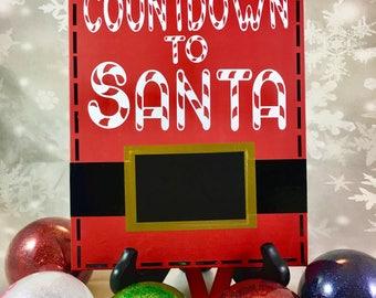 Countdown to Santa - Reusable Chalkboard - Christmas Countdown - Santa - Christmas - 8 x 10 Canvas Sign - Santa Clause - Christmas Decor