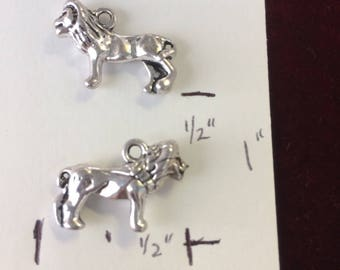 Lion, 3-D, pewter charm, double sided  LI3D