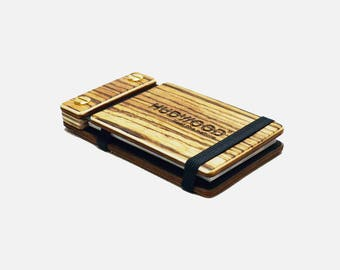 Wooden Business Card Holder Case - Customized - Zebrawood