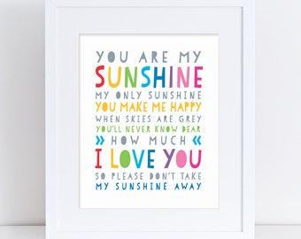 You Are My Sunshine Printable, Printable Sunshine Art, Sunshine Kids Art, You Are My Sunshine, Sunshine Song Art, Sunshine Kids Poster, Sign