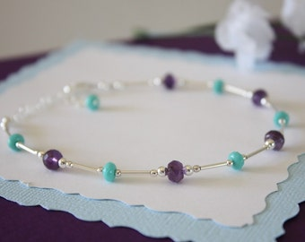 Amethyst Anklet and Sterling Silver, Purple Anklet, Turquoise, Silver Anklet, Beach, Vacation, Beach Wedding, Bridesmaid, best friend gift