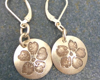 Cherry Blossom dangle earrings in sterling silver