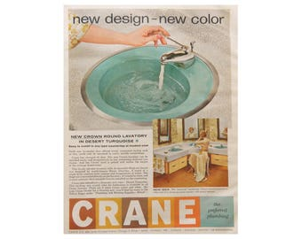 Bath Wall Art - Crane Bathroom Ad - 1950's