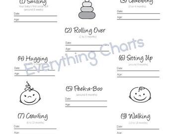 Baby Milestones Chart - PDF File/Printable
