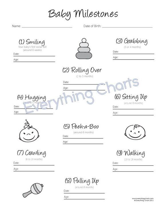 Marvelous Baby Milestones Chart   PDF File/Printable