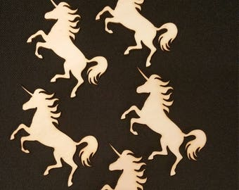Unicorn Shapes, Wooden Laser Cut Craft Embellishments, 85mm