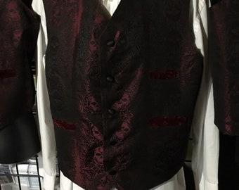 Garnet and black steampunk vest