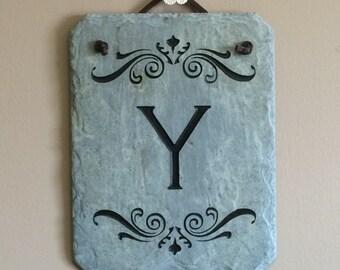 Letter Y Slate Monogram Plaque