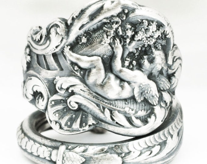 Angel Ring, Sterling Silver Spoon Ring, Victorian Gorham Versailles Pattern 1888, Cherub Ring, Baby Wings Gift, Adjustable Ring Size (7116B)