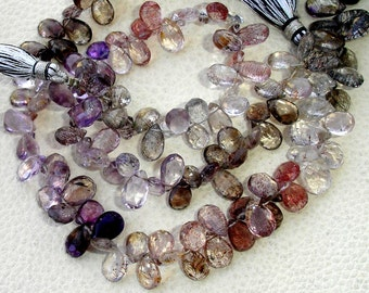 8 INCH, Multi Natural-Super Finest AAA Quality, Moss AMETHYST Faceted Pear Briolettes, 10-11mm aprx.Super,Very Fine