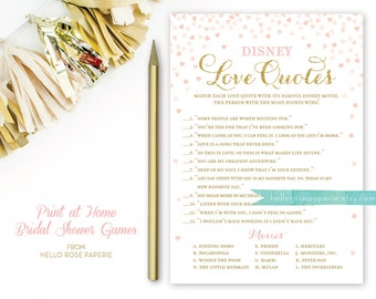 Pink and Gold Bridal Shower Games . Disney Love Quotes Bridal Shower Game . Printable Instant Download . Gold Glitter Pink Confetti Hearts