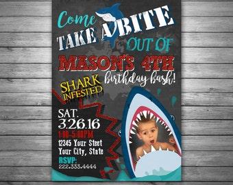 Shark Birthday Invitation, Digital File, Shark Photo invitation, Shark Party, Digital Invitation, Shark Birthday Party Invitation