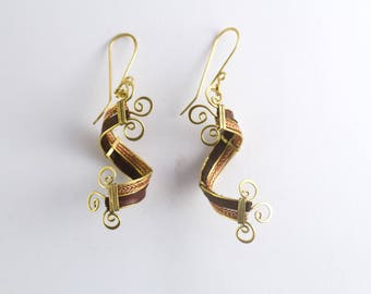 Brass, copper and leather earrings