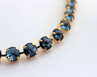Swarovski bracelet, Denim Blue bracelet, Blue Swarovski bracelet, Rhinestone bracelet, Swarovski blue, bridesmaid bracelet, Rivoli blue SD01