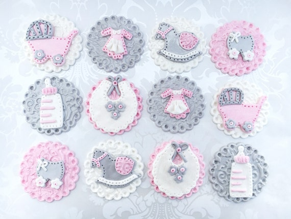Girl Baby Shower Fondant Cupcake Toppers Edible Baby Shower