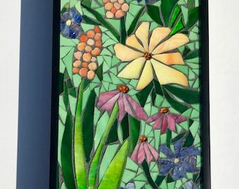 Flower Garden Mosaic Art~Made To Order~ Whimsical Garden Stained Glass Mosaic Wall Art Glass Framed Flower Art