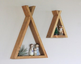 Wood Tipi Shelf, Teepee, Nursery, Room Decor, Forest, Reclaimed Wood, Triangle, Geometric, Modern Livingroom, Woodland, Camping, Wood Shelf