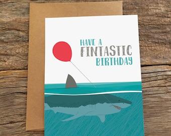 Geburtstagskarte / Hai fin