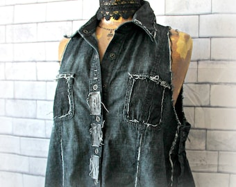 Black Denim Shirt Frayed Destroyed Sleeveless Top Upcycle Clothes Urban Street Style Rocker Clothing Women Grunge Vest Art Wear L XL 'TEIGAN