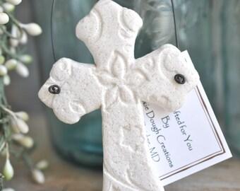 Christian Imprinted Cross Baptism Favor Salt Dough Ornament