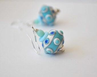 Sky Blue Earrings, Lampwork Glass Earrings, Polka Dot Earrings, Dangle Earrings