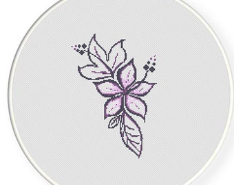 MORE for FREE - Purple Floral - Counted Cross stitch pattern PDF - Instant Download - Cross Stitch Pattern - Flowers-Love- Needlepoint #1421