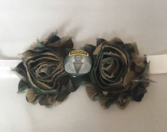 Military Baby Headband,  US Army Ranger Shabby Flower Headband, Baby Hair Accessories. Baby Girls Hair Accessories, Military Headban