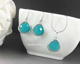 Bridesmaid Gift Mint Bridesmaid Jewelry Silver Necklace Turquoise Earrings Maid of Honor Gift Mother of Groom Gift Mother of Bride Gift
