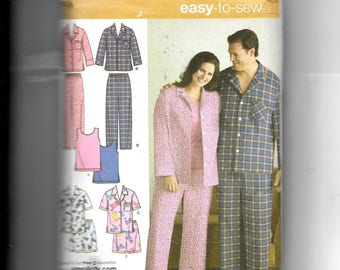 Simplicity Women's and Men's Pajamas In Two Lengths and Knit Tank Top Pattern 3971