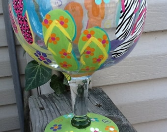 Fun flip flop 60 ounce wine glass