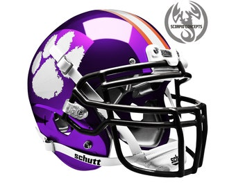 "Clemson Tigers ""WP1"" Chrome Purple Concept Mini Helmet"