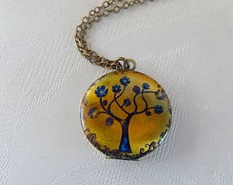 Tree Locket, Round Pendant, Fall Tree, Working Locket, Photo Image, Gift for Her