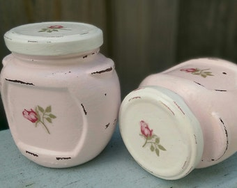 Pink Shabby Chic Glass Trinket Jar Painted Rosebuds Vanity Kitchen Storage Desk Bathroom Home Nursery Office Dorm Decor Housewarming Gift