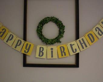 Happy Birthday Banner / Yellow & Gray / Hanging Banner / Birthday Party Decor / Gender Neutral / Boy Birthday / Girl Birthday / Add Name