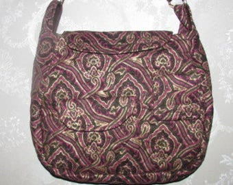 Handmade Cotton Purse, Quilted brown and gold ornat paisley 100A