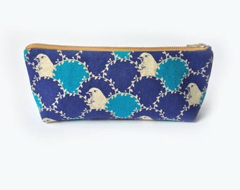 Bird Canvas Pencil Case, Retro Zipper Pouch, Blue Pencil Case, Back to School Supplies, Teacher's Gift, Bridesmaid's Gift, Travel Organiser