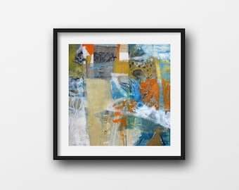 Fold: Square, Original Abstract Painting in Yellow Ochre, Orange, and Blue