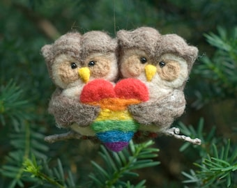 Needle Felted Owl Ornament - Pride Heart
