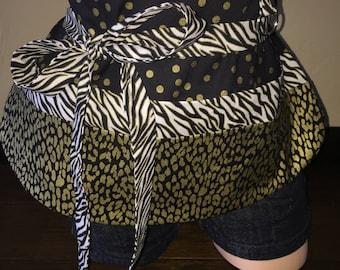 Black, White, and Gold Half Waist Pocket Apron
